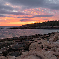 Sunset from rocks overlooking Ship Harbor, Acadia National Park, Maine.