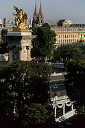 Paris cityscape , Alexandre III brige gold statue and sainte clotilde church view from  the  grand palais Paris  France