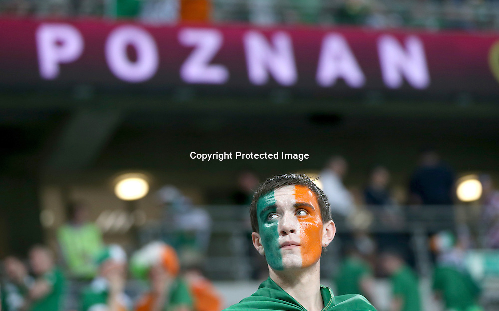 EURO 2012 Group C, Municipal Stadium, Poznan, Poland 10/6/2012<br /> Republic of Ireland vs Croatia<br /> A dejected Irish fan after the game<br /> Mandatory Credit &copy;INPHO/James Crombie