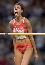 Croatia's Blanka Vlasic celebrates after jumping 2.04m in the women's high jump final of the 12th IAAF World Athletics Championships at the Olympic Stadium on August 20, 2009 in Berlin, Germany. (Photo by Vid Ponikvar / Sportida)