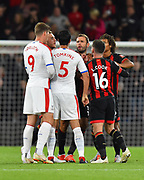 James Tomkins (5) of Crystal Palace looks to make his feeling known to Steve Cook (3) of AFC Bournemouth at full time during the Premier League match between Bournemouth and Crystal Palace at the Vitality Stadium, Bournemouth, England on 1 October 2018.