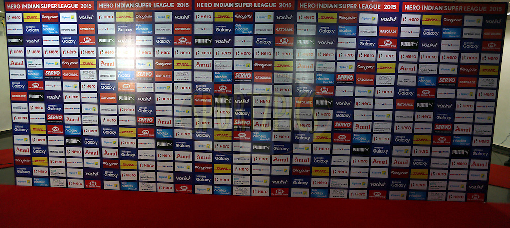Mixed Zone Backdrop during match 46 of the Indian Super League (ISL) season 2  between FC Goa and NorthEast United FC held at the Jawaharlal Nehru Stadium, Fatorda, Goa, India on the 25th November 2015.<br /> <br /> Photo by Sandeep Shetty / ISL/ SPORTZPICS