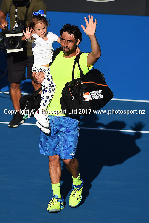 Marcos Baghdatis with his daugther after losing to Joao Sousa during the ASB Classic ATP Mens Tournament Day 5 Semi Finals. ASB Tennis Centre, Auckland, New Zealand. Friday 13 January 2017. ©Copyright Photo: Chris Symes / www.photosport.nz