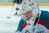 KELOWNA, CANADA - FEBRUARY 23: Brodan Salmond #31 of the Kelowna Rockets stands on the ice during warm up against the Seattle Thunderbirds on February 23, 2018 at Prospera Place in Kelowna, British Columbia, Canada.  (Photo by Marissa Baecker/Shoot the Breeze)  *** Local Caption ***