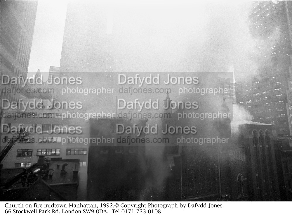Church on fire midtown Manhattan, 1992.<br />