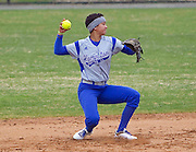 Hampton University Junior Rebecca Magett prepares to throw during the first game of Hampton's doubleheader split against Morgan State University at the Lady Pirates Softball Complex on the campus of Hampton University in Hampton, Virginia.  (Photo by Mark W. Sutton)