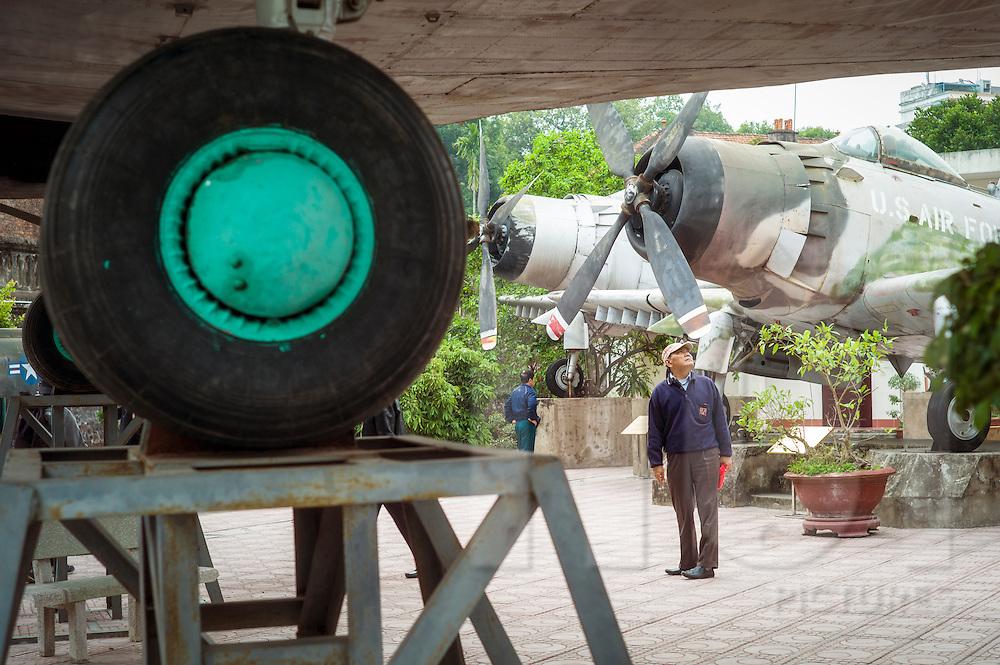 Tourist at Vietnam Military History Museum, Hanoi, Vietnam, Southeast Asia