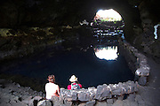 Cavern lake formed by volcanic lava tunnel, Jameos de Agua, Lanzarote, Canary Islands, Spain
