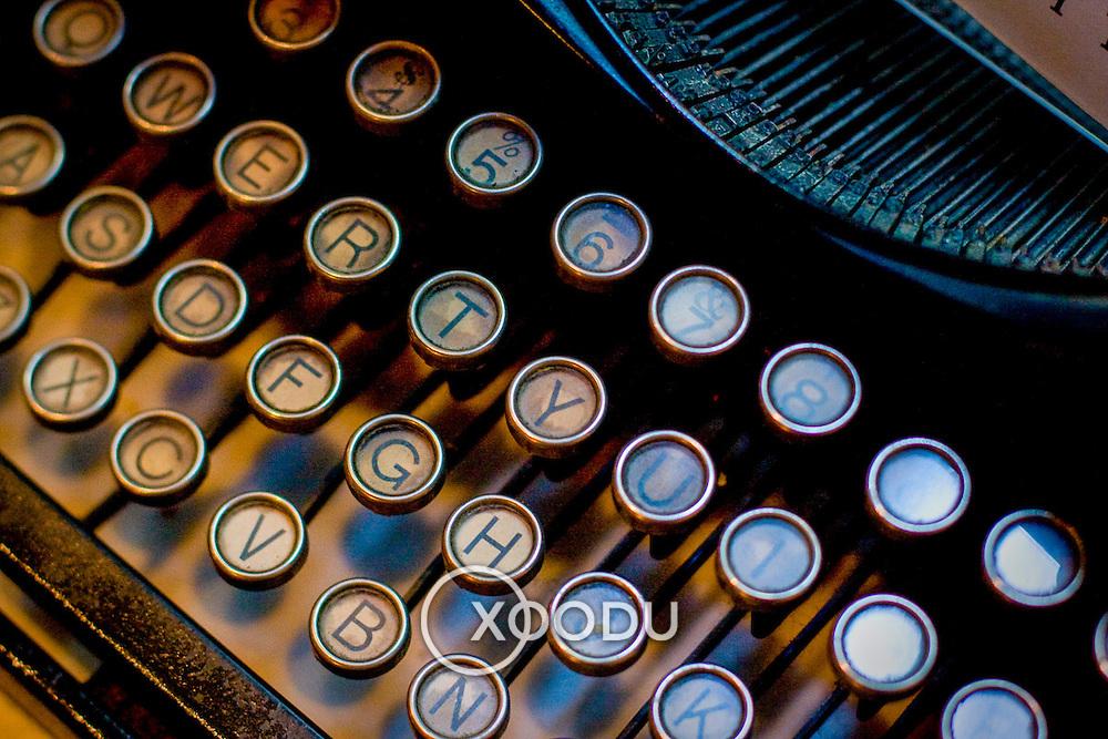 Macro closeup of old fashioned typewriter keys (Shanghai, China - Sep. 2008) (Image ID: 080927-1413223a)