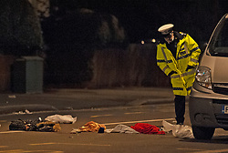 © Licensed to London News Pictures. 14/01/2019. Anerley, UK. Police officer looking at items in the road. A mother has been killed and a child is in hosptial fighting for life after being hit by a car crossing the road in Anerley near Penge.<br />   Photo credit: Grant Falvey/LNP