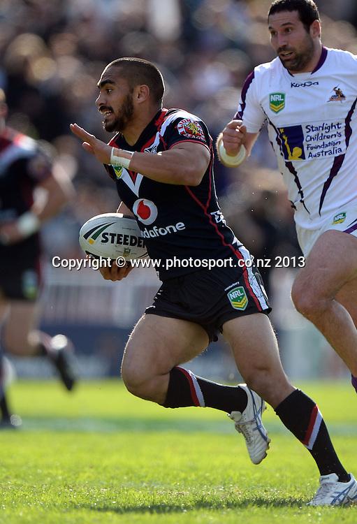 Thomas Leuluai. NRL Rugby League match, Vodafone Warriors v Melbourne Storm at Mt Smart Stadium in Auckland on Sunday 28 July 2013. Photo: Andrew Cornaga/Photosport.co.nz