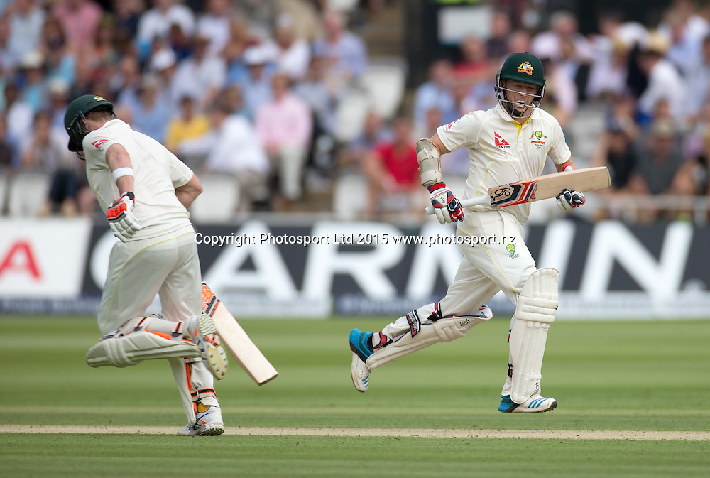 Chris Rogers (right) runs past Steve Smith during the 2nd Investec Test Match between England and Australia at Lord's Cricket Ground, London. Photo: Graham Morris (Tel: +44(0)20 8969 4192 Email: sales@cricketpix.com) 16/07/15