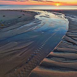 Sand patterns at sunset on Bound Brook Island, Cape Cod National Seashore, Wellfleet, Massachusetts. HDR.