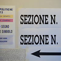 VENICE, ITALY - FEBRUARY 24:  A general view of signs inside a polling station seen while the general election gets underway on February 24, 2013 in Venice, Italy. Italians are heading to the polls today to vote in the elections, as the country remains in the grip of economic problems . Pier Luigi Bersani's centre-left alliance is believed to be a few points ahead of the centre-right bloc led by ex-Prime Minister Silvio Berlusconi.  (Photo by Marco Secchi/Getty Images)