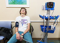 Simon Jones has his his vitals taken during one of his regular appointments at Children's Hospital and Medical Center on Wednesday, Oct. 26, 2016, in Omaha. Jones, now 17, has been battling cancer for the last 3 1/2 years. When it returned in June he decided he decided he would live his life to the fullest.