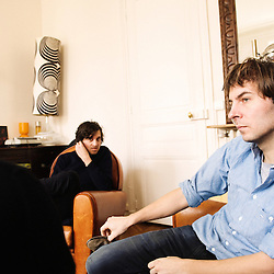 Interview by Thomas Hessler of the french band Phoenix at their label's office. Paris, 10 march 2009. Photo: Antoine Doyen