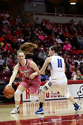 05 February 2016: Millie Stevens(12) works her way past Jennifer Mackowiak on the baseline. Illinois State University Women's Redbird Basketball team hosted the Sycamores of Indiana State for a Play4 Kay game at Redbird Arena in Normal Illinois.