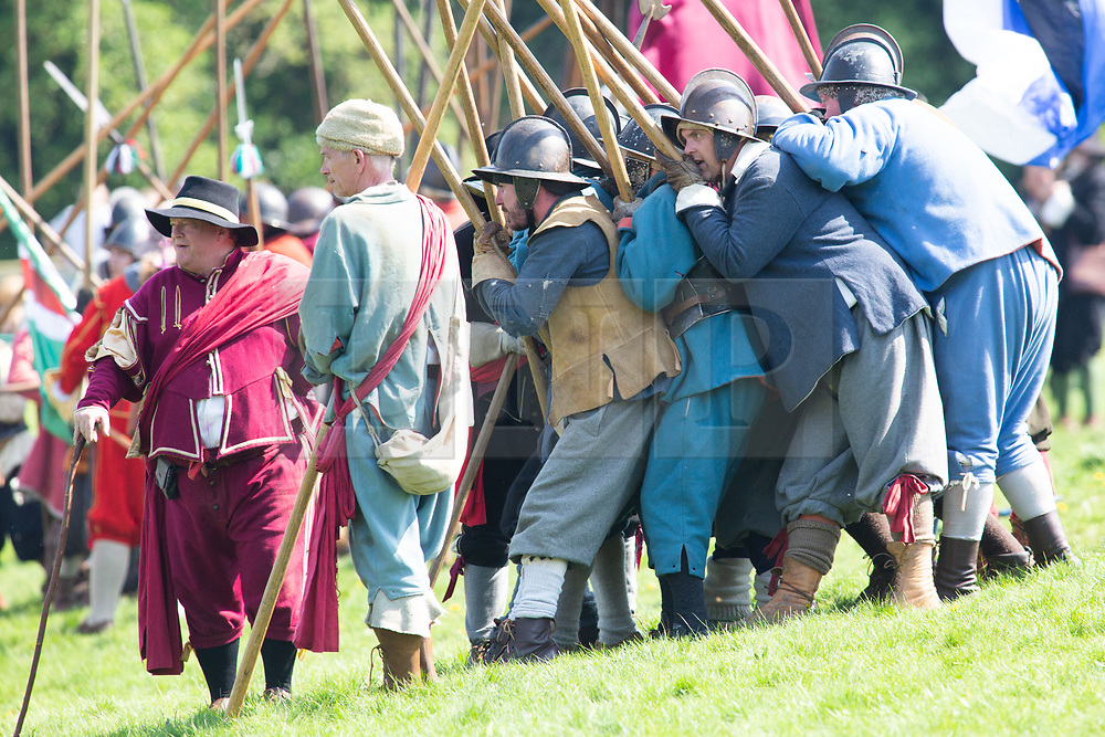 © Licensed to London News Pictures. 07/05/2018. Newark, Nottinghamshire, UK. Over 300 civil war re-enactors descended on Newark during the early May Bank Holiday as the clock is turned back to the turbulent mid-17th century.<br /> The 4th Annual Pikes and Plunder Civil War Festival took place Monday 7th May with over a dozen regiments taking part alongside two artillery companies, a baggage train and scores of living history exponents making the 2018 Festival an even bigger spectacle than before.  Photo credit: Dave Warren/LNP