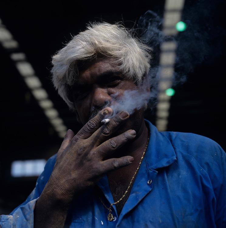 Australia, New South Wales, Sydney, (MR) Portrait of Kampta Prasad Lila, originally from Fiji, a worker at the Sydney Shipbuilding Yard