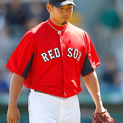 February 28, 2011; Fort Myers, FL, USA; Boston Red Sox starting pitcher Daisuke Matsuzaka (18) during a spring training exhibition game against the Minnesota Twins at City of Palms Park.  Mandatory Credit: Derick E. Hingle