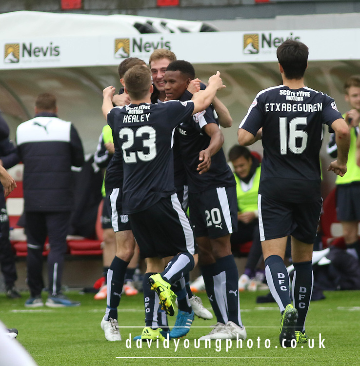 Dundee&rsquo;s Kevin Holt is congratulated on his goal  - Hamilton Academical v Dundee, Ladbrokes Premiership at New Douglas Park<br /> <br /> <br />  - &copy; David Young - www.davidyoungphoto.co.uk - email: davidyoungphoto@gmail.com