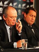 All Blacks coach Graham Henry and forwards coach Steve Hansen.<br /> All Blacks end-of-year tour team announcement, NZRU HQ, Wellington. Sunday, 26 October 2008. Photo: Dave Lintott/PHOTOSPORT