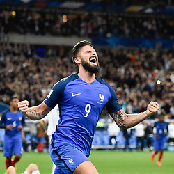 October 10, 2017 - St Denis, France - OLIVIER GIROUD of France celebrates scoring against Belarus during a FIFA World Cup European Group Qualifier. (Credit Image: © Panoramic via ZUMA Press)