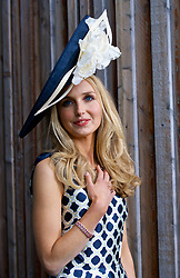 LIVERPOOL, ENGLAND - Thursday, April 6, 2017: Camilla Davies from Cheshire wearing Ted Baker, during The Opening Day on Day One of the Aintree Grand National Festival 2017 at Aintree Racecourse. (Pic by David Rawcliffe/Propaganda)
