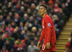 LIVERPOOL, ENGLAND - Sunday, January 17, 2016: Liverpool's Roberto Firmino looks dejected after missing a chance against Manchester United during the Premier League match at Anfield. (Pic by David Rawcliffe/Propaganda)