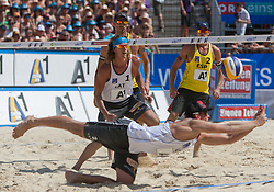 04.08.2013, Klagenfurt, Strandbad, AUT, A1 Beachvolleyball EM 2013, Finale Herren, Spiel 72, im Bild vorne links Alexandrs Smoilovs 1 LAT / Janis Smedins 2 LAT, hinten links Pablo HERRERA 1 ESP / Adrián GAVIRA Collado 2 ESP<br /> // during Final match 72 of the A1 Beachvolleyball European Championship at the Strandbad Klagenfurt, Austria on 2013/08/04. EXPA Pictures © 2013, EXPA Pictures © 2013, PhotoCredit: EXPA/ Mag. Gert Steinthaler