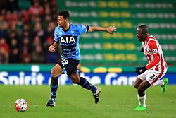 Mousa Dembele of Tottenham Hotspur is chased by Gianelli Imbula of Stoke City  - Mandatory by-line: Matt McNulty/JMP - 18/04/2016 - FOOTBALL - Britannia Stadium - Stoke, England - Stoke City v Tottenham Hotspur - Barclays Premier League