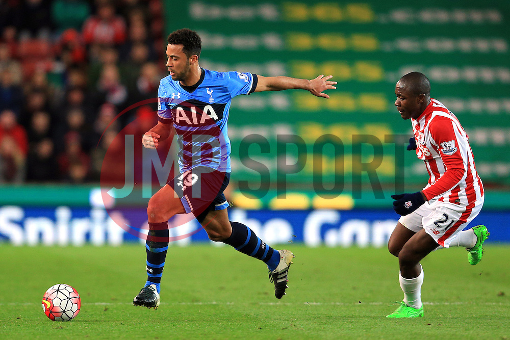 Mousa Dembele of Tottenham Hotspur is chased by Gianelli Imbula of Stoke City  - Mandatory by-line: Matt McNulty/JMP - 18/04/2016 - FOOTBALL - Britannia Stadium - Stoke, England - Stoke City v Tottenham Hotspur - Barclays Premier League