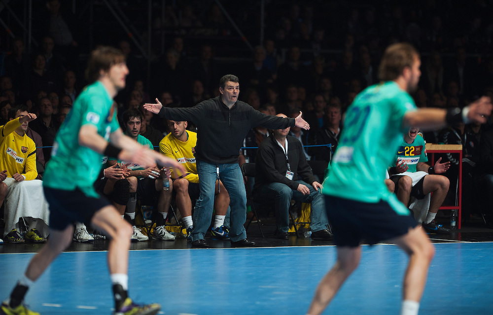 DK -  Copenhagen..20/04/12.Handball, Champions League 1/4 final, AGK Copenhagen vs FC Barcelona..21.300 spectators (Danish record) are watching the game on the national Arena, Parken (the Park).XAVI PASCUA, coach, FC Barcelona.Photo: Johnny Wichmann / billedbyroet