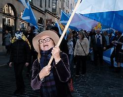 All Under One Banner Independence March, Edinburgh, Saturday 6th October 2018<br /> <br /> Pictured: A marcher enjoys her day<br /> <br /> Alex Todd | Edinburgh Elite media