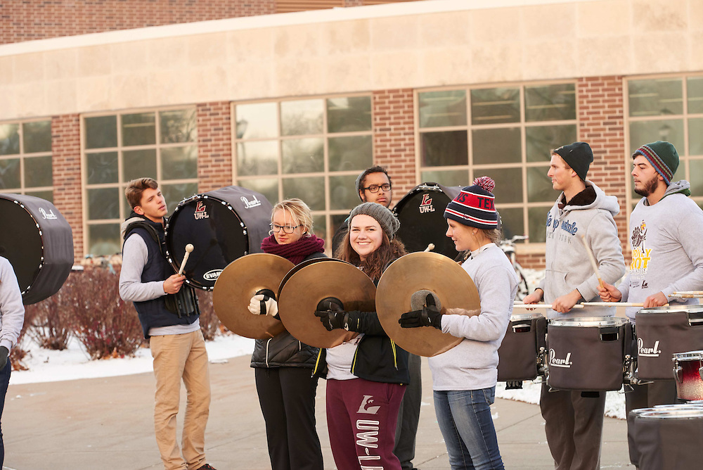 "Band; Candid; Eagle L; Group; Man men; morning; November; ""Recreational Eagle Center; REC""; Student students; sunny; Woman women; Outside"