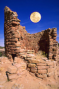 Full moon over Horseshoe Tower Ruin, Hovenweep National Monument, Colorado USA