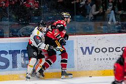 22.10.2016, Ice Rink, Znojmo, CZE, EBEL, HC Orli Znojmo vs Dornbirner Eishockey Club, 13. Runde, im Bild v.l. Charlie Sarault (Dornbirner) Andre Lakos (HC Orli Znojmo) // during the Erste Bank Icehockey League 13th round match between HC Orli Znojmo and Dornbirner Eishockey Club at the Ice Rink in Znojmo, Czech Republic on 2016/10/22. EXPA Pictures © 2016, PhotoCredit: EXPA/ Rostislav Pfeffer