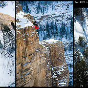 "Ted Davenport on the first ""Ski-BASE"" descent of Glenwood Canyon, CO."