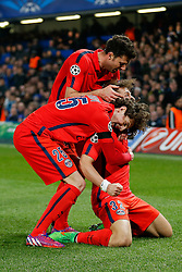Adrien Rabiot celebrates with Former Chelsea player David Luiz of Paris Saint-Germain who celebrates scoring a goal to level at 1-1 - Photo mandatory by-line: Rogan Thomson/JMP - 07966 386802 - 11/03/2015 - SPORT - FOOTBALL - London, England - Stamford Bridge - Chelsea v Paris Saint-Germain - UEFA Champions League Round of 16 Second Leg.
