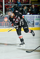 KELOWNA, CANADA, JANUARY 1: Jake Virtanen #18 of the Calgary Hitmen warms up as the Calgary Hitmen visit the Kelowna Rockets on January 1, 2012 at Prospera Place in Kelowna, British Columbia, Canada (Photo by Marissa Baecker/Getty Images) *** Local Caption ***