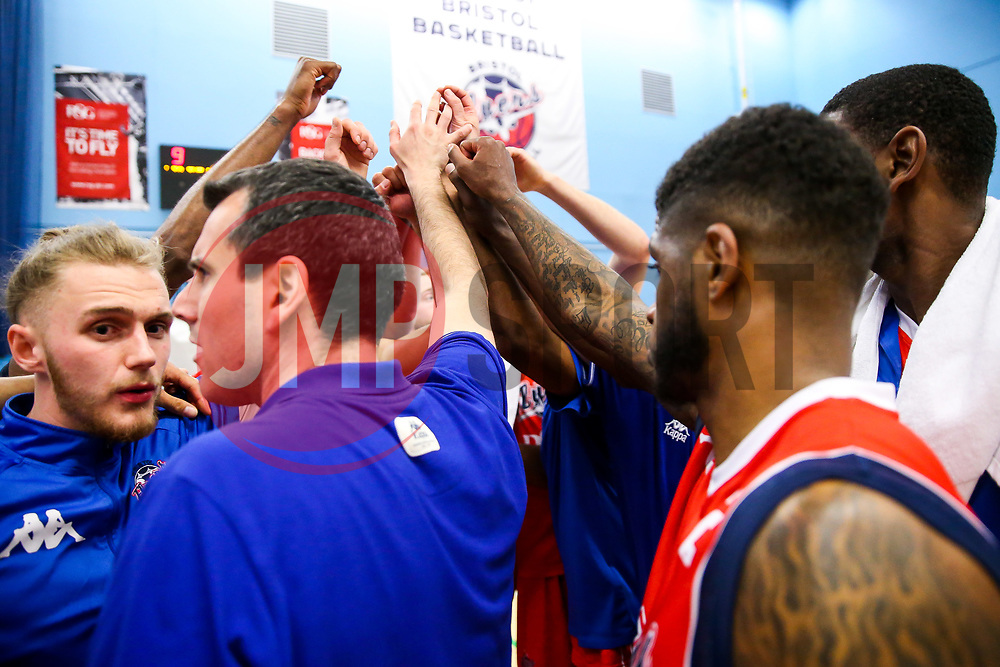 Bristol Flyers huddle after they heroically fight back from 33 points behind to end the game 94-97 - Rogan Thomson/JMP - 28/04/2017 - BASKETBALL - SGS Wise Arena - Bristol, England - Bristol Flyers v Newcastle Eagles - BBL Championship Play-Off Quarter Final First Leg.