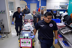 "The second of the formerly conjoined twin girls who was separated in a seven-hour surgery earlier this year has been discharged after spending 482 days in hospital. Hope Elizabeth Richards was allowed home last week [April 25, 2018], eight weeks after her sister Anna Grace was discharged from Texas Children's Hospital in Houston on March 2. Her mother Jill Richards said: ""This is the moment it all feels real. ""We are so excited for Hope to join Anna and her brothers at home. Our family is eternally thankful for the doctors, nurses, child life specialists, physical therapists and many others at Texas Children's who took incredible care of our precious girls."" The twins, who are now aged 16 months, were successfully separated during a mammoth surgery that involved a multidisciplinary 75-strong team of surgeons on January 13. The sisters were previously conjoined at their chest and abdomen, through the length of their torso and shared the chest wall, pericardial sac (lining of the heart), diaphragm and liver. The girls were delivered via C-section on 29 December, 2016, at 35 weeks gestation. The Richards family, from North Texas, learned Jill was carrying conjoined twins during a routine ultrasound. The family was then referred to Texas Children's Fetal Center, where they underwent extensive prenatal testing, consultation and development of plans to achieve a safe delivery and postnatal care.  They temporarily relocated to Houston in order to deliver at Texas Children's and be close to the girls during their hospital stay. 25 Apr 2018 Pictured: CAPTION: Formerly conjoined twin girl Hope Elizabeth Richards is released from Texas Children's Hospital on April 25, 2018, and her sister Anna Grace, who was discharged six weeks prior, was there to meet her sibling. LOCAL CAPTION: Hope rides down the hallway as she prepares to leave Texas Children's after 482 days. Photo credit: Paul Vincent Kuntz/ MEGA TheMegaAgency.com +1 888 505 6342"