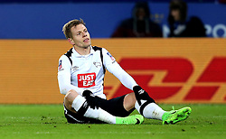 Matej Vydra of Derby County sits on the floor - Mandatory by-line: Robbie Stephenson/JMP - 08/02/2017 - FOOTBALL - King Power Stadium - Leicester, England - Leicester City v Derby County - Emirates FA Cup fourth round replay