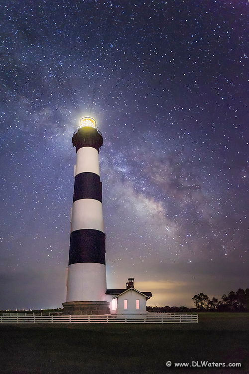 Bodie Island Lighthouse and a star filled sky including the Milky-way galaxy on the Outer Banks of North Carolina.