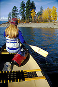 THIS PHOTO IS AVAILABLE FOR WEB DOWNLOAD ONLY. PLEASE CONTACT US FOR A LARGER PHOTO. Idaho. Sandpoint. Lake Pend Oreille. Fisherman Is. Fall. Canoeing .  MR