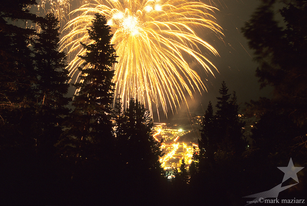 fireworks during Olympics over Old Town Park City, UT USA