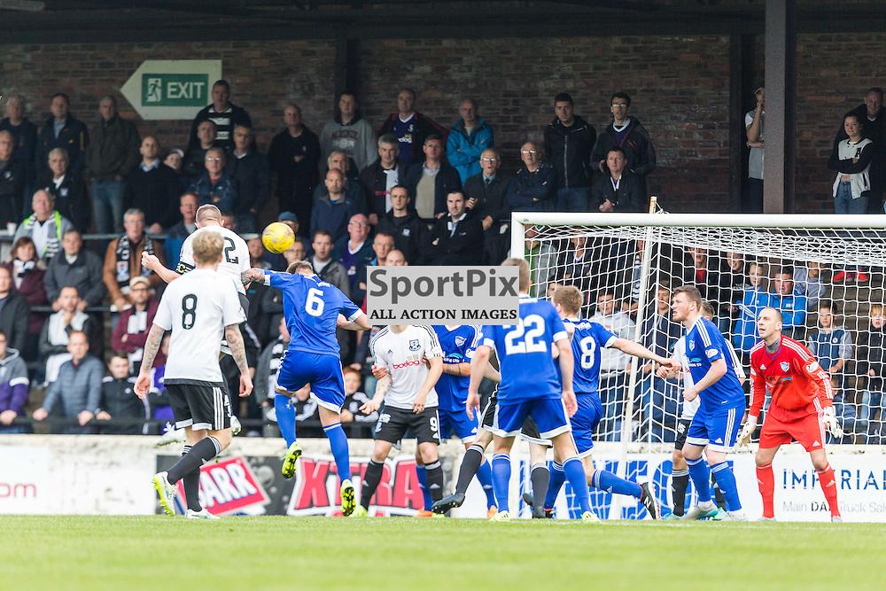 Nicky Devlin scores for Ayr Utd during the Scottish League 1 fixture between Ayr Utd and Peterhead (c) ROSS EAGLESHAM | Sportpix.co.uk