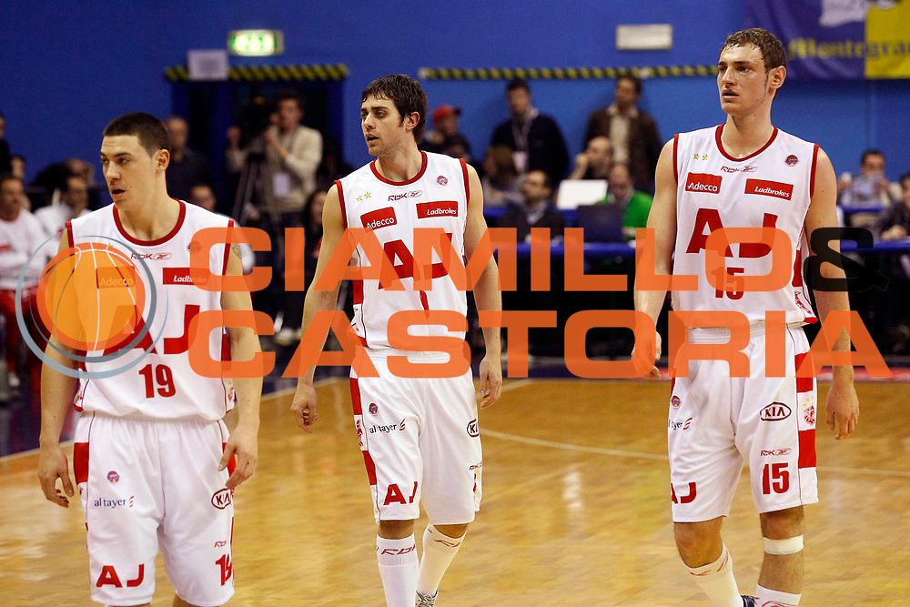 DESCRIZIONE : Milano Lega A1 2007-08 Armani Jeans Milano Premiata Montegranaro<br /> GIOCATORE : Fabio Di Bella Giuliano Maresca Mindaugas Katelynas<br /> SQUADRA : Armani Jeans Milano<br /> EVENTO : Campionato Lega A1 2007-2008<br /> GARA : Armani Jeans Milano Premiata Montegranaro<br /> DATA : 01/03/2008<br /> CATEGORIA : Ritratto<br /> SPORT : Pallacanestro<br /> AUTORE : Agenzia Ciamillo-Castoria/G.Cottini