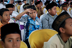 July 23, 2017 - Jombang, East Java, Indonesia - Some boys waited in turn to be circumcised in a mass circumcision organized by Unipdu Medika Hospital in Jombang, East Java, Indonesia on July 23, 2017. As many as 100 boys participated in the event, some of which were considered celebrations for Reach maturity. Circumcision is the foreskin that covers the penis gland (Credit Image: © Luhur W. Wijaya/Pacific Press via ZUMA Wire)