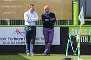 Forest Green Rovers manager, Mark Cooper and Exeter City manager Paul Tisdale during the EFL Sky Bet League 2 match between Forest Green Rovers and Exeter City at the New Lawn, Forest Green, United Kingdom on 9 September 2017. Photo by Shane Healey.